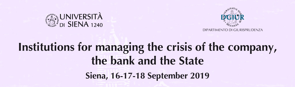 Institutions for managing the crisis of the company, the banks and the State